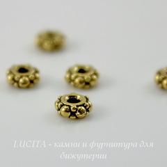 Бусина - спейсер TierraCast 4х2 мм (цвет-античное золото), 5 штук