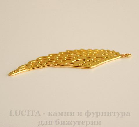 """Подвеска """"Крыло"""" филигрань (цвет - золото) 36х15 мм"""