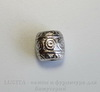 """Бусина металлическая """"Кружочки"""" (цвет - античное серебро) 6х5 мм , 10 штук ()"""