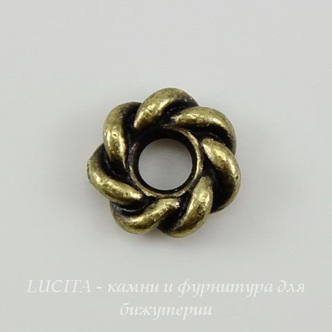 "Бусина - спейсер TierraCast ""Твист"" (цвет-античная латунь) 7х2 мм"