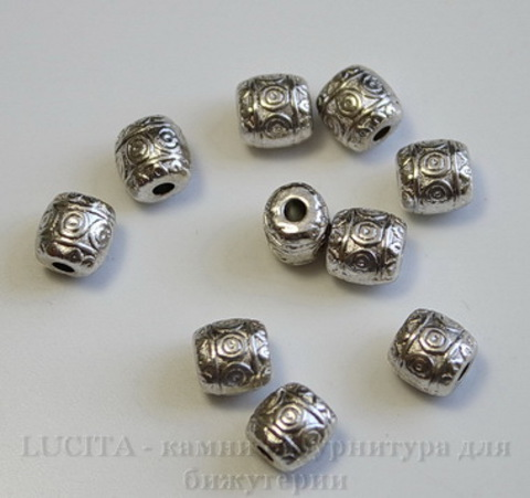 """Бусина металлическая """"Кружочки"""" (цвет - античное серебро) 6х5 мм , 10 штук"""