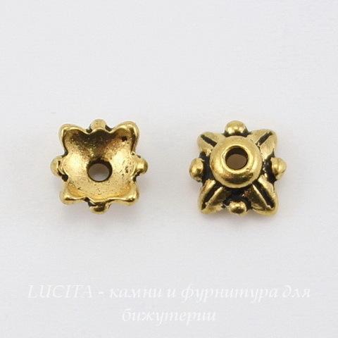 """Шапочка для бусины TierraCast """"4 листика"""" (цвет-античное золото) 6х3 мм"""
