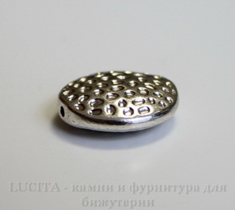 Бусина металлическая круглая плоская 17х6 мм (цвет - античное серебро) ()