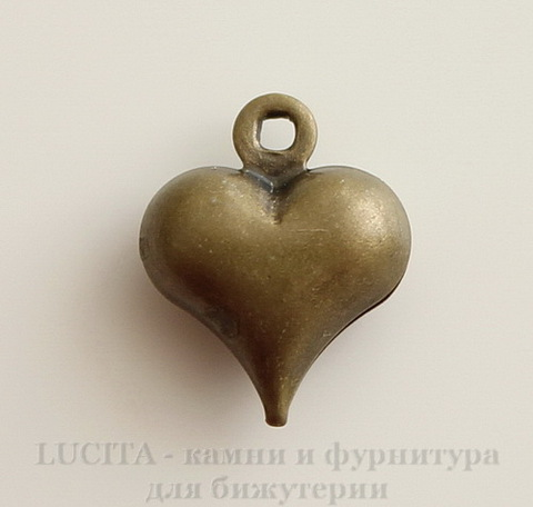 "Подвеска ""Сердце"" 3D 11х9 мм (цвет - античная бронза), 10 шт"