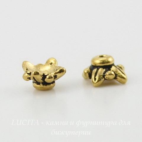 """Шапочка для бусины TierraCast """"4 листика"""" (цвет-античное золото) 6х3 мм ()"""