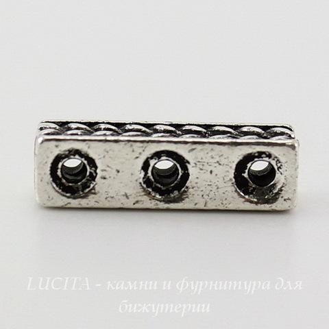 "Разделитель на 3 нити TierraCast ""Косичка"" (цвет-античное серебро) 15х4 мм ()"