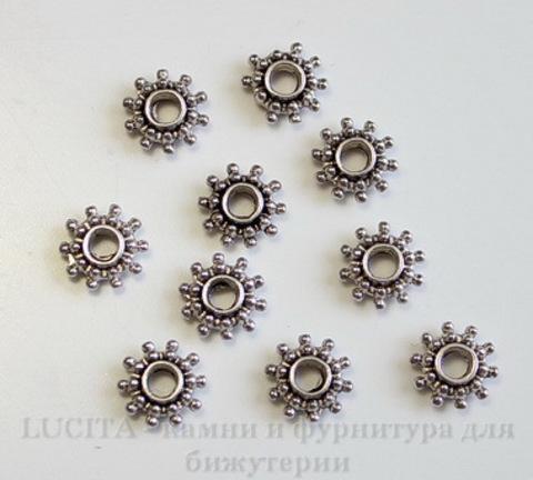 Бусина - рондель Снежинка (цвет - античное серебро) 9х3 мм, 10 штук