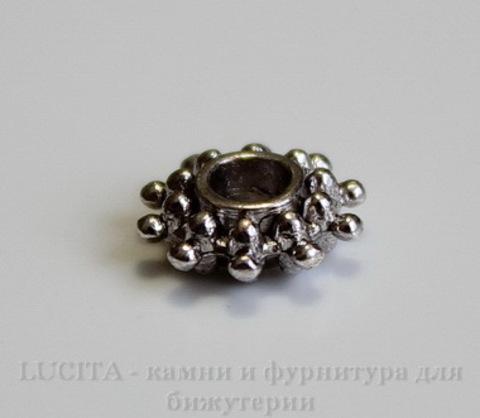 Бусина - рондель Снежинка (цвет - античное серебро) 9х3 мм, 10 штук ()