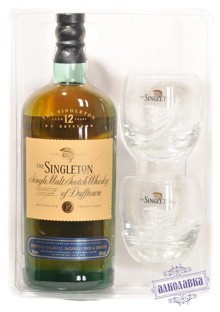 Виски односолодовый Синглтон 12 лет Вискокурня Даффтаун со стаканами 40% 0,7