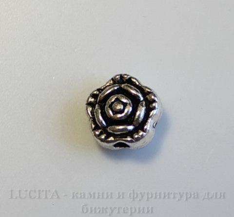 """Бусина металлическая """"Розочка"""" (цвет - античное серебро) 7х5 мм, 10 штук ()"""