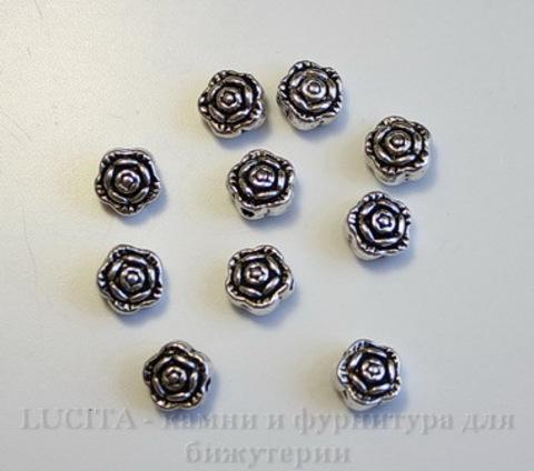 """Бусина металлическая """"Розочка"""" (цвет - античное серебро) 7х5 мм, 10 штук"""