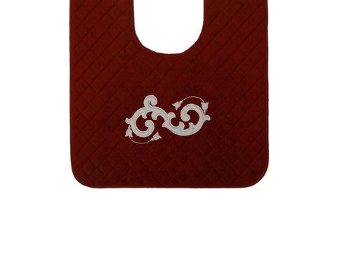 Элитный коврик для унитаза Ricciolo бордовый с бежевой аппликацией от Old Florence