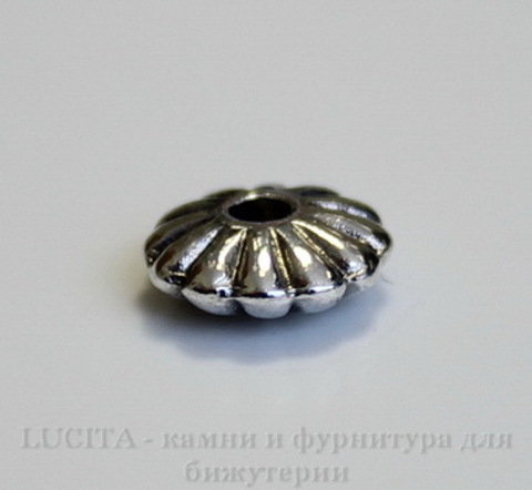 """Бусина металлическая - рондель """"Текстурная"""" (цвет - античное серебро) 9х4 мм, 10 штук ()"""