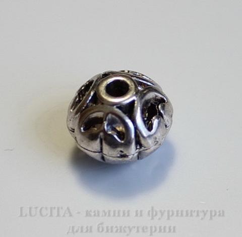 """Бусина металлическая """"Ажурная"""" (цвет - античное серебро) 12х10 мм ()"""