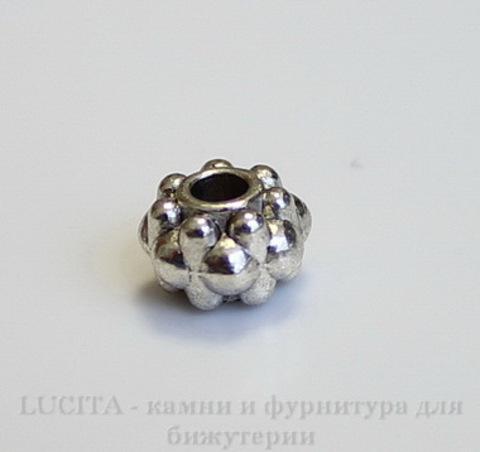 Бусина металлическая - рондель (цвет - античное серебро) 6,5х4,5 мм, 10 штук ()