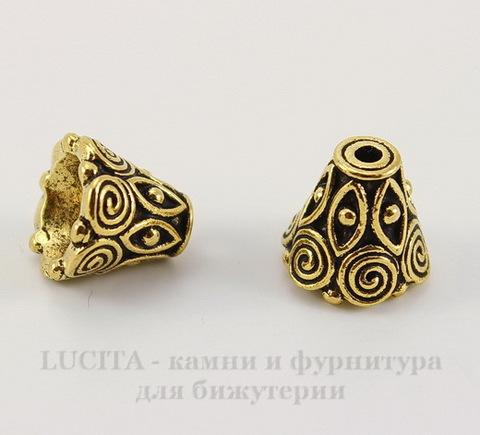 """Шапочка для бусины TierraCast """"Спираль"""" (цвет-античное золото) 9х8,5 мм"""