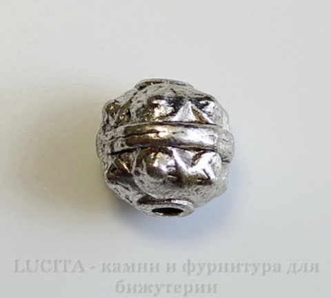 Бусина металлический шарик с шипами (цвет - античное серебро) 10х10 мм