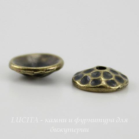 "Шапочка для бусины TierraCast ""Hammertone"" (цвет-античная латунь) 8х2,5 мм ()"