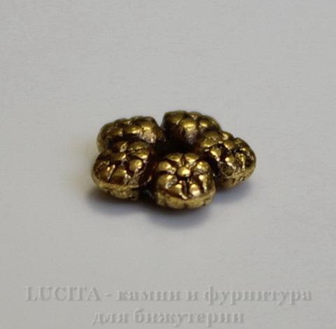 """Бусина металлическая - спейсер """"Цветы"""" 7 мм (цвет - античное золото), 10 штук ()"""