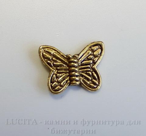 """Бусина металлическая """"Бабочка"""" (цвет - античное золото) 15х10 мм , 10 штук"""