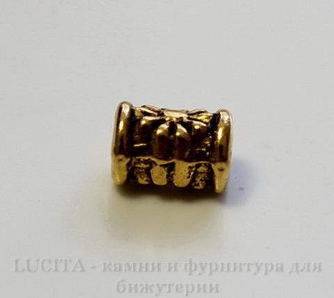 """Бусина металлическая трубочка """"Цветочек"""" (цвет -  античное золото) 6х5 мм, 10 штук ()"""