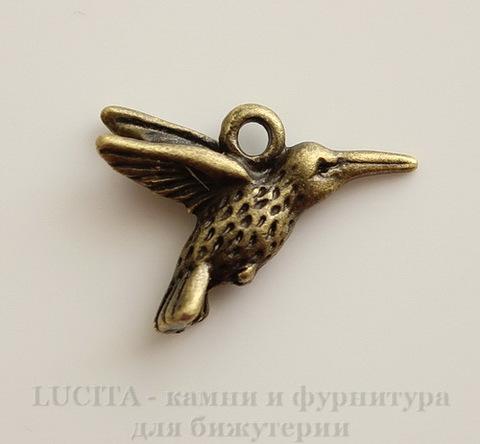 """Подвеска """"Колибри"""" (цвет - античная бронза) 18х14 мм"""