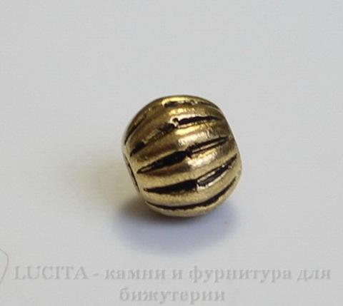Бусина металлическая, шарик с узором (цвет - античное золото) 6 мм , 10 штук ()