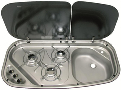 Варочная газовая панель с раковиной Dometic CRAMER KOMBI 840x436-DF-HI/21-I-2G