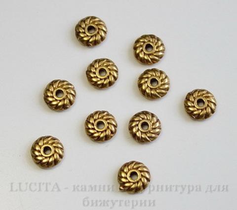 Бусина металлическая - спейсер (цвет - античное золото) 6х2 мм, 10 штук ()