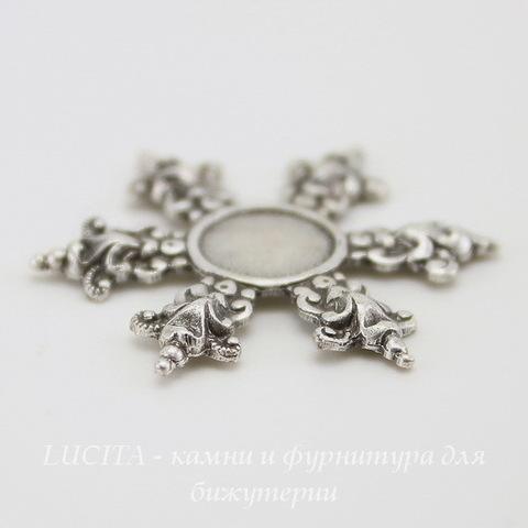 """Сеттинг - основа """"Снежинка"""" для камеи или кабошона 8 мм (оксид серебра) ()"""