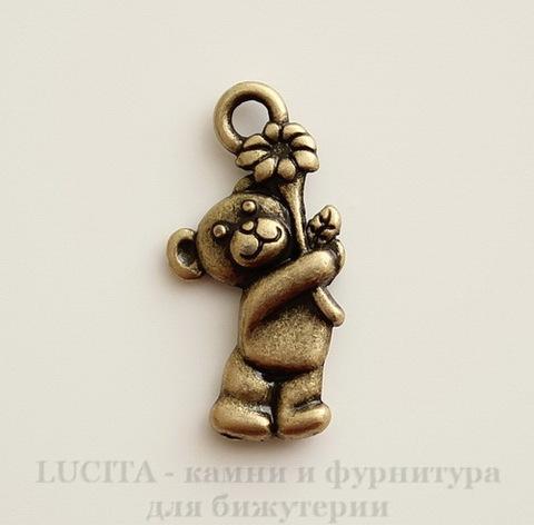 """Подвеска """"Мишка с цветком"""" 19х9 мм (цвет - античная бронза)"""