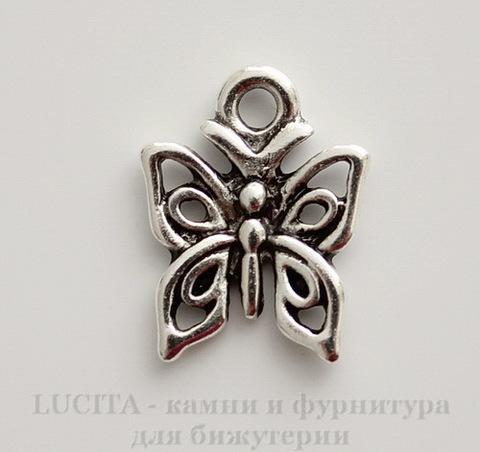 "Подвеска ""Бабочка"" 15х13 мм (цвет - античное серебро)"