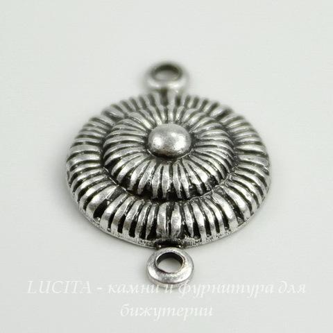 Винтажный декоративный элемент - коннектор (1-1) 20х13 мм (оксид серебра) ()