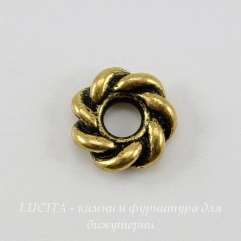 "Бусина - спейсер TierraCast ""Твист"" (цвет-античное золото) 7х2 мм"