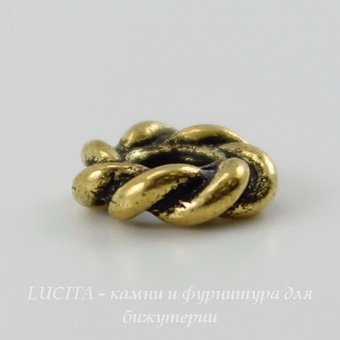 "Бусина - спейсер TierraCast ""Твист"" 7х2 мм (цвет-античное золото) ()"