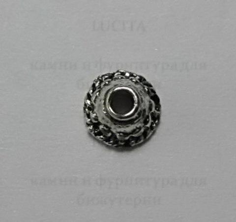 Винтажный декоративный элемент - шапочка маленькая с узором 5х3 мм (оксид серебра) ()