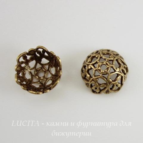Винтажный декоративный элемент - шапочка 10х5 мм (оксид латуни) ()