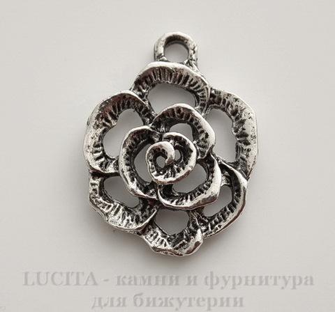 "Подвеска ""Цветок"" (цвет - античное серебро) 24х18 мм"
