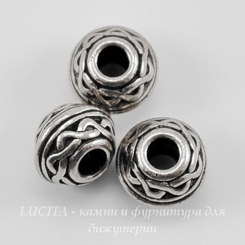 """Бусина - рондель TierraCast """"Кельтский узел"""" (цвет-античное серебро) 9х7 мм"""