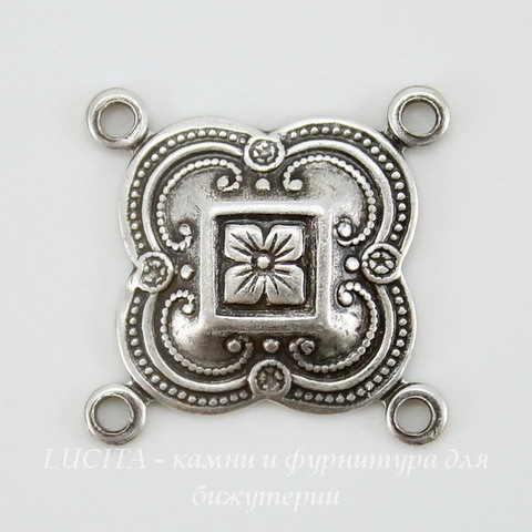 Винтажный декоративный элемент - коннектор (2-2) 16х16 мм (оксид серебра)