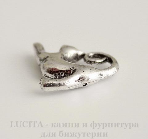 "Подвеска ""Кошка"" 17х14 мм (цвет - античное серебро)"