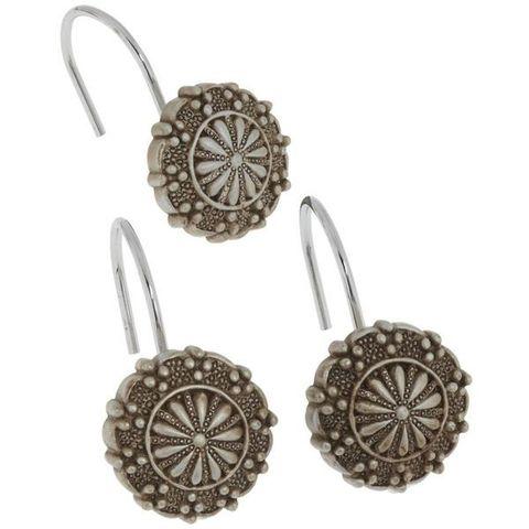 Набор из 12 крючков для шторки Sheffield Silver от Carnation Home Fashions