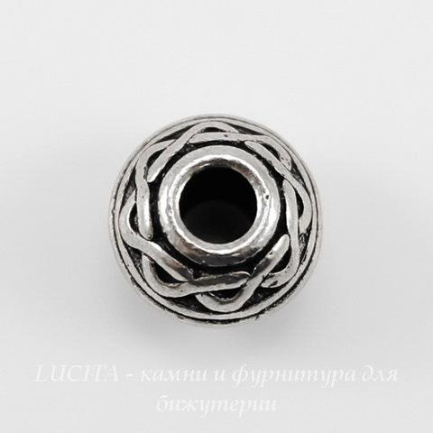 """Бусина - рондель TierraCast """"Кельтский узел"""" 9х7 мм (цвет-античное серебро) ()"""