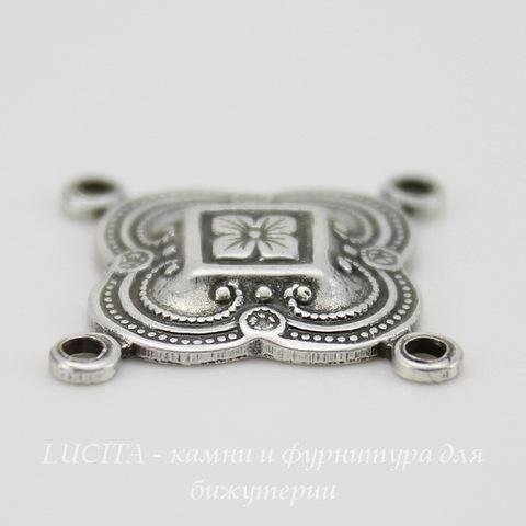 Винтажный декоративный элемент - коннектор (2-2) 16х16 мм (оксид серебра) ()