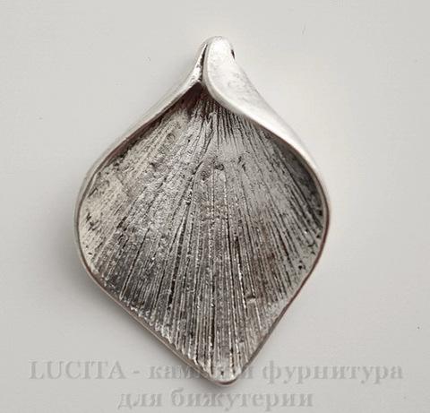 "Подвеска ""Калла"" 34х25 мм (цвет - античное серебро)"
