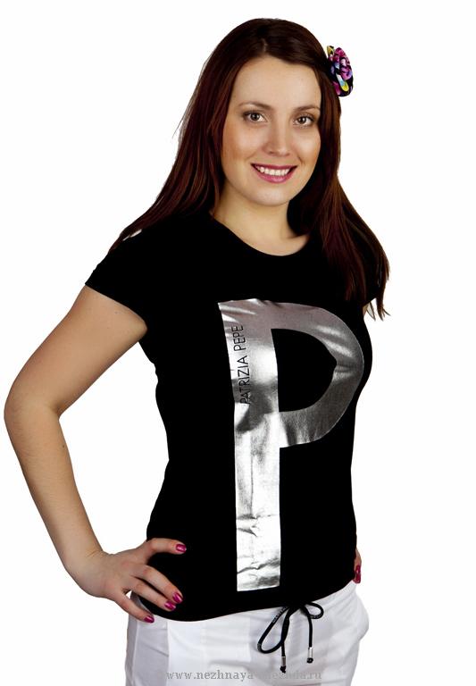 Женская хлопковая футболка Patrizia Pepe (Летняя и пляжная одежда)