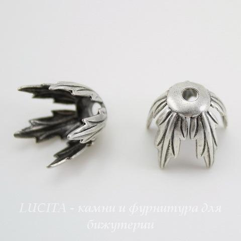 Винтажный декоративный элемент - шапочка 12 мм (оксид серебра) ()