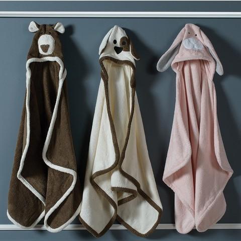 Полотенце детское 70х140 Casual Avenue Animal Bear с капюшоном шоколад/белое