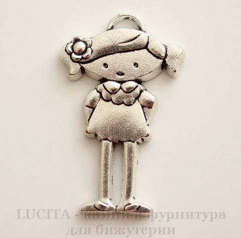 "Подвеска ""Девочка"" (цвет - античное серебро) 40х25 мм"