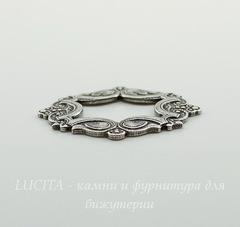 Винтажный декоративный элемент - рамка 29x23 мм (оксид серебра)